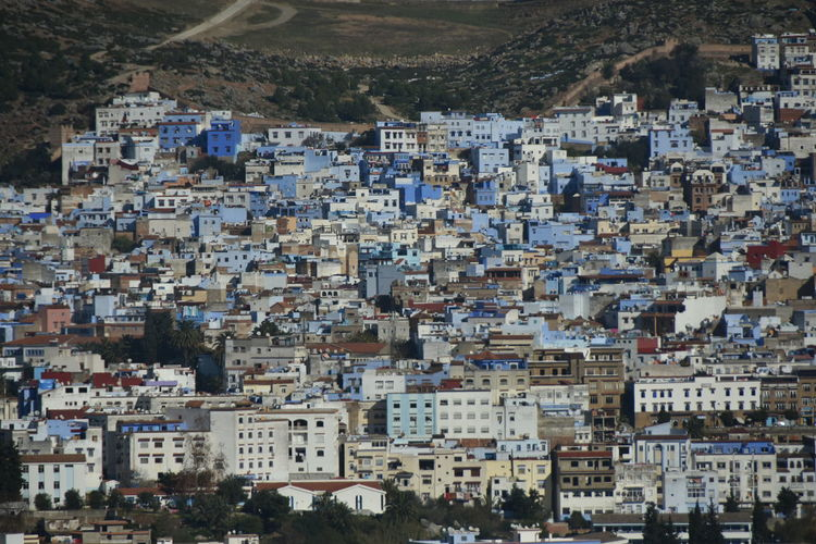 Architecture Built Structure Day Outdoors Travel And Tourism Morocco Daytime Outdoor Photography No People Building Exterior City Crowded Building Cityscape Community Full Frame Urban Sprawl Chefchaouen Blue City