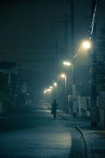 City Electricity  Mist Night Road Street Light The Way Forward Walking