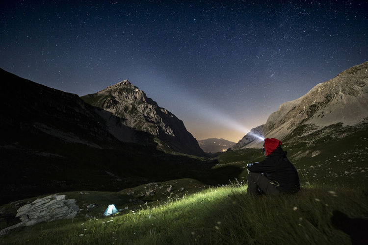 Camping Hiking Night Photography Nightphotography Trekking Beauty In Nature Campinglife Hiking Adventures Landscape Milky Way Mountain Mountain Peak Mountain_collection Mountains And Sky Nature Nightscape Outdoors Scenics - Nature Sky Star Star - Space Stars Sunset Tent Tranquility