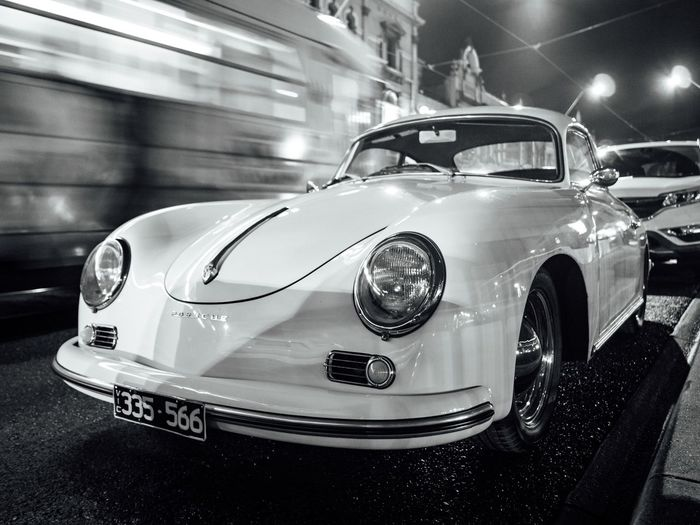 Random classic porsche B&W Beautiful Black & White Black And White Blackandwhite Car Cars Classic Classic Car Design Illuminated Mode Of Transport Monochrome Porsche Retro Slow Shutter Stationary Wide Angle