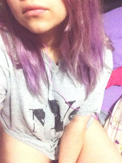 Am I pretty? Yeah, at least for your eyes. That's Me Forever Yours ♥ Pale Messy Hair Love ♥ Being Ugly Purple Music IDK Pink