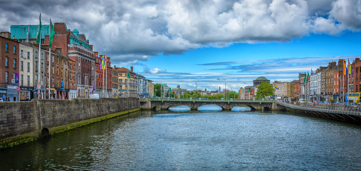 Architecture Bridge - Man Made Structure Building Exterior Built Structure Business Finance And Industry City Cityscape Cloud - Sky Day Dublin Harbor Ireland No People Outdoors River Sky Travel Destinations Water