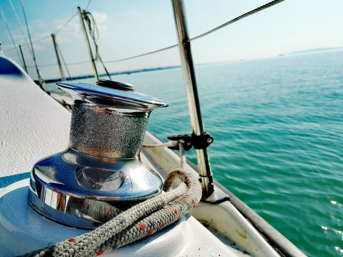 Close-Up Of Bollard On Boat In Sea