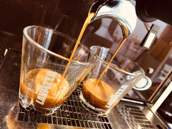 Espresso Espresso Arabica Coffee Robusta Lavazza Food And Drink Indoors  Household Equipment Still Life Refreshment No People Close-up Drink High Angle View Food Glass Drinking Glass Alcohol Pouring Freshness Glass - Material Table Musical Instrument Nature Tray