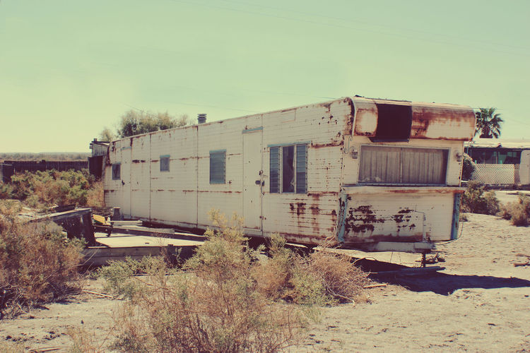Desert Salton Sea Abandoned Camping Trailer Damaged Ghost Town Landscape Motor Home No People Outdoors Run-down Rusty