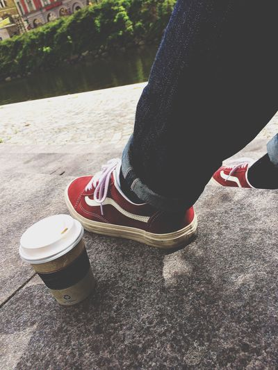 Sometimes you just need to sit down by yourself with a cup of coffe to think and make your mind relax. Escaping Vans Selvedge Coffe