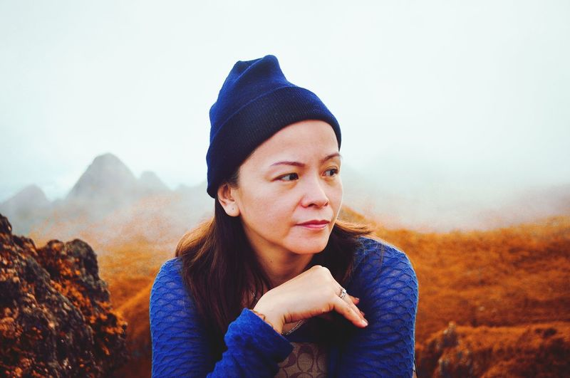 Autumn Only Women People Warm Clothing Cold Temperature Fog Nature Mountain Scarf Beauty Portrait Mother Blue Autumn Mountain Hike Osmeña Peak Cebu Cebu Philippines First Eyeem Photo