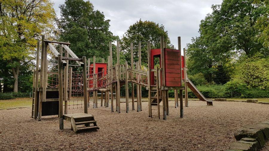 Children's playground, sand playground structure in the park.