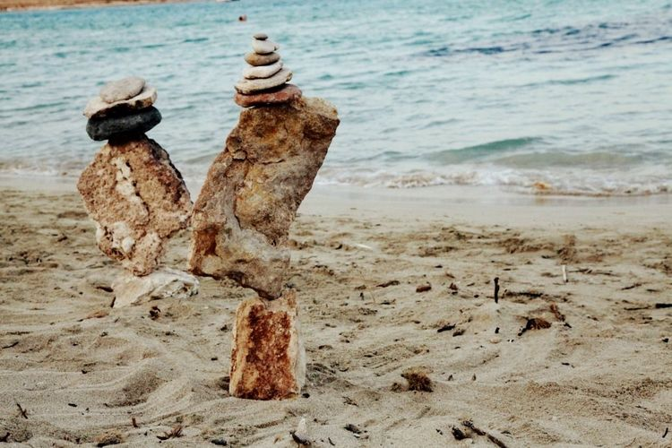 Balance Stones Balancing Rocks Balancing Act Balancing Balance And Composure Balancing Art Seaside Sand Summertime Sea Rocks Sculpture Travel Photography Relaxing Life Is Beautiful Vacation Art Creativity Koufonisia Kyclades Greece Pori Bay Windy Day