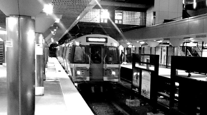 Train Night Subway Commuting Revere Public Transportation Taking Photos Quiet Boston Blue Line black and white station