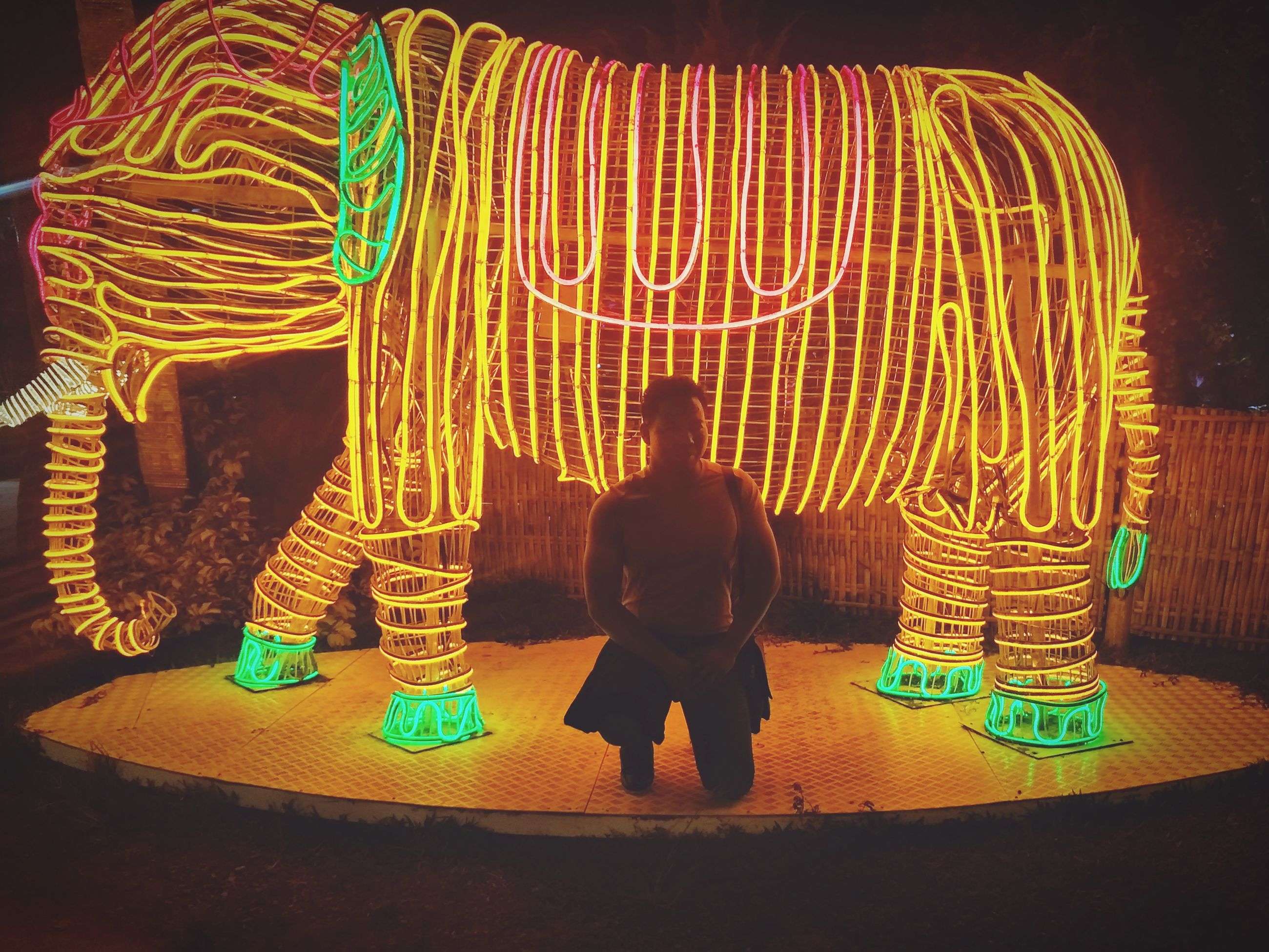 illuminated, rear view, real people, one person, glowing, night, long exposure, full length, creativity, light painting, arts culture and entertainment, lifestyles, men, standing, leisure activity, motion, art and craft, multi colored, light trail, light