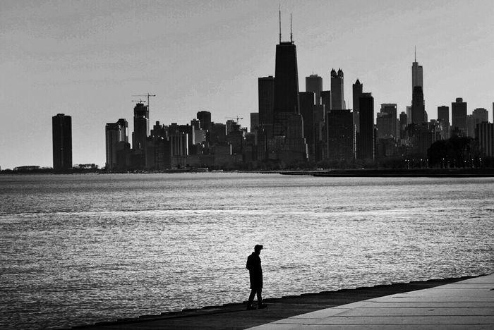 Chicago Lake Michigan Architecture Urban Skyline Cityscape Skyline Blackandwhite Silhouette