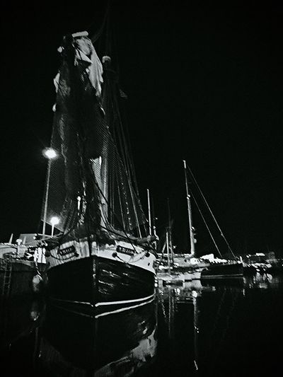 Black And White Night Photography Sailing Boats