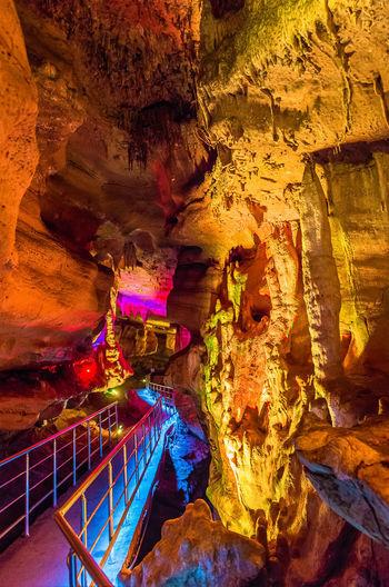 View of illuminated cave