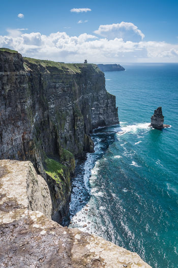 Sea Water Beauty In Nature Rock Scenics - Nature Sky Rock - Object Solid Rock Formation Cloud - Sky Tranquil Scene Land Nature Cliff Tranquility Day Horizon Over Water Horizon No People Outdoors Formation Eroded Rocky Coastline Ireland Cliffs Of Moher