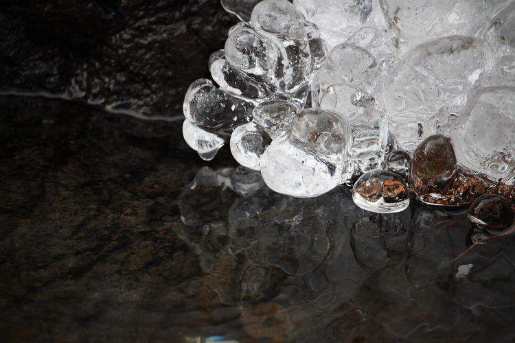 High Angle View Of Ice Formation At Pond
