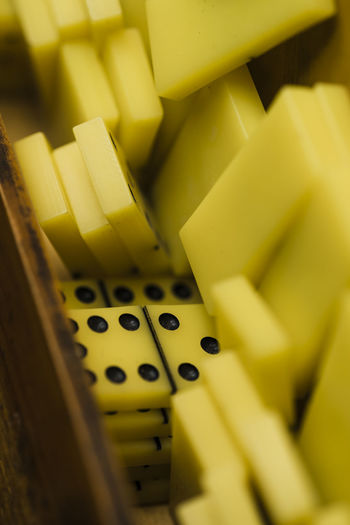 High angle view of dominoes in box