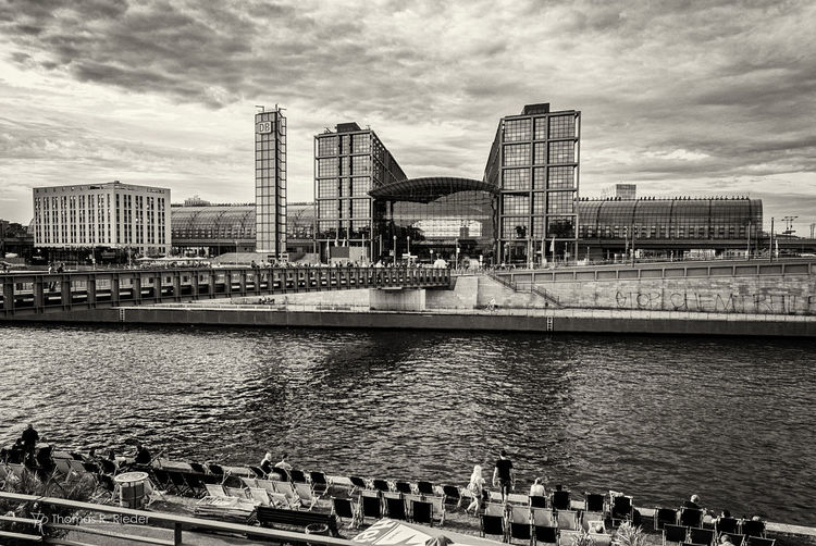 Architecture City Built Structure Water Outdoors Cityscape Modern Urban Skyline Day Travel Destinations Berlin Train Station Hauptbahnhof Lehrter Bahnhof Main Station Berlin Blackandwhite