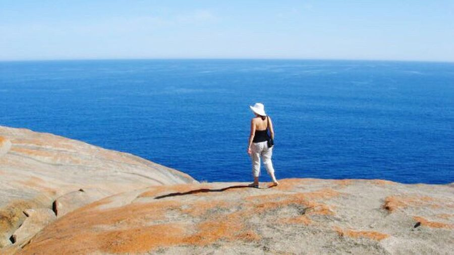 Australia Sea Water Horizon Over Water Kangaroo Island Indian Ocean Alone Time Standing Tranquil Scene Rear View Men Tranquility Blue Scenics Beauty In Nature Escapism Idyllic Full Length Nature Clear Sky Remote Sky Sunny