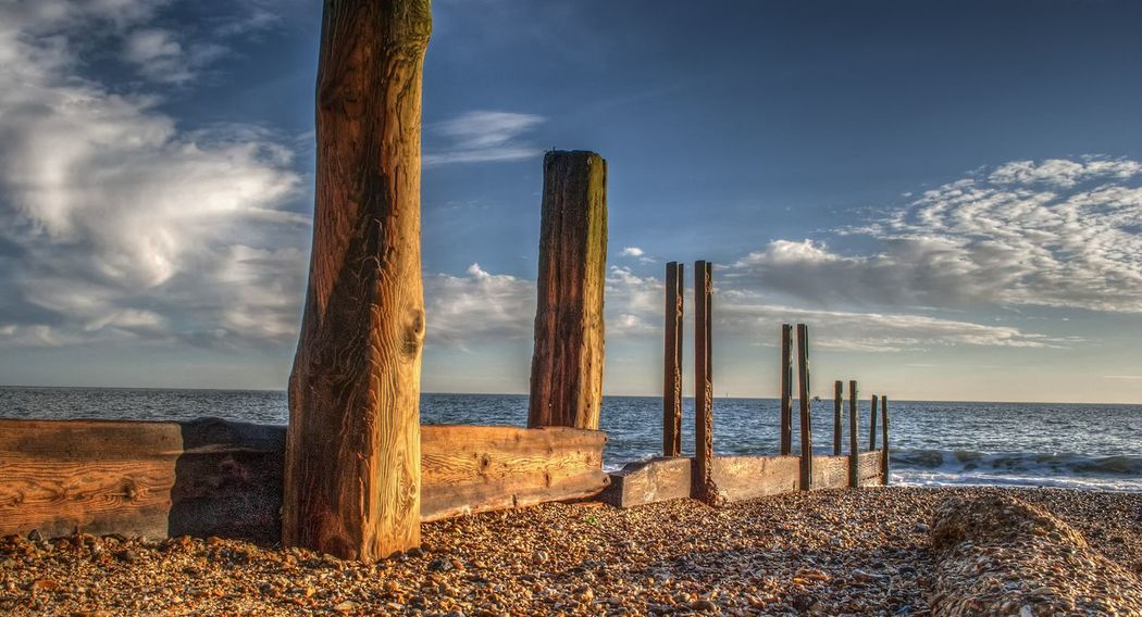Beach. Groynes Posts Sea And Sky Beachphotography Cloud - Sky Outdoors No People