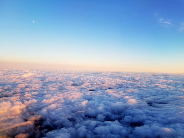 Aerial view of clouds against sky during sunset