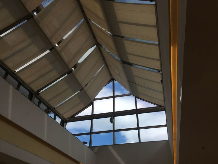 Blue Architecture Built Structure Indoors  Window Low Angle View