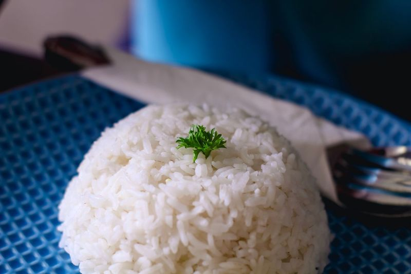 White rice served with green clover leaf on elegant blue plate. EyeEm Selects Green Green Color Blue Dinner Lunch Appetizer Light And Shadow Foodphotography Foodporn Concept White Food Food And Drink Indoors  Freshness Kitchen Utensil Ready-to-eat No People Plate Healthy Eating Close-up Table Eating Utensil Serving Size Asian Food Rice Plant Still Life Garnish EyeEmNewHere