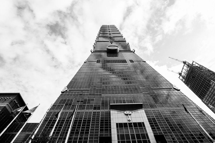 Architecture Built Structure Low Angle View Tall - High Tower Skyscraper Glass - Material Travel Taipei,Taiwan Taipei Taiwan Tourism Blackandwhite Photography Streetphotography Travel Destinations