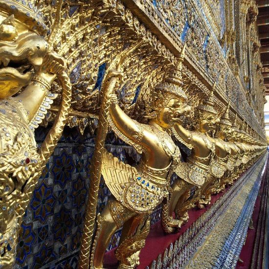 Outside the Emerald Buddha Temple Up Close Street Photography Golden Statue Thailand Temple Feel The Journey Gold No People Outdoors Travel Photography Temple 43 Golden Moments
