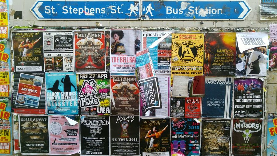 Music Concert Poster Fly Posting Street Sign Graffiti Gambling Multi Colored Backgrounds Full Frame Business Finance And Industry Text Close-up Display