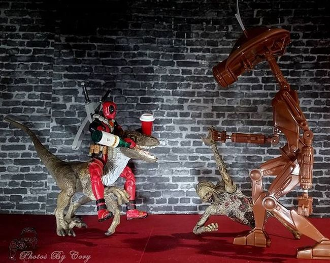 Robot: sir is this yours? DP: never seen it before.have we Timmy? Have a drink buddy! Robot: do you honestly expect that dinosaur to answer? DP: Shhhh! He thinks he's a horse. And don't bring up his drinking. Raptor Deadpool Walker Walkingdead Tds_veloceptember Drunktoys Driod Toydinosquad