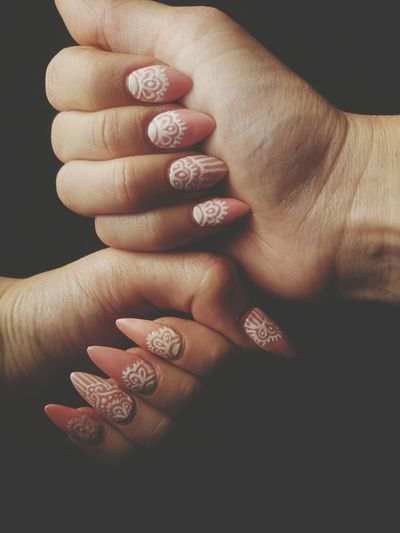 Romantic lace mani. First full acrylic set Stilettonails Almondnails Acrylicnails  Nailart