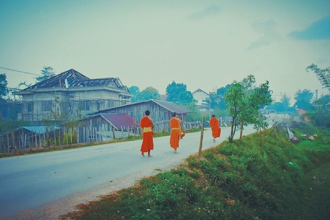 Street Photography Cultures Yellow And Green Buddhist Monks Buddhism Sky Taking Photos