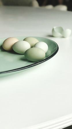 Eggs Farmfresh Green Egg Food And Drink Food Freshness Indoors  Table Still Life Close-up No People Wellbeing Healthy Eating Kitchen Utensil Group Of Objects High Angle View Sweet Food Focus On Foreground White Color Raw Food Plate Bowl