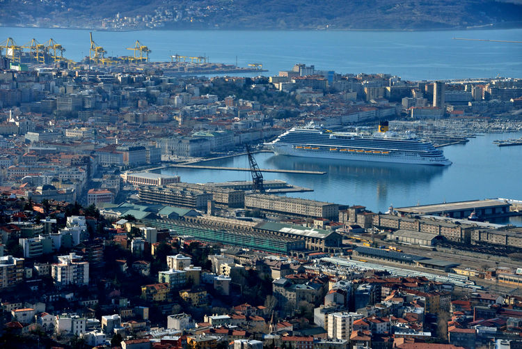 panoramic view of trieste with Costa Venezia moored Trieste Costa Crociere Costa Venezia Cruise Ship Cityscape High Angle View Panoramic View Ursus Harbor Travel Destinations Naval Design Travel Lifestyles Outdoors Skyscraper Architecture City Maritime Photography