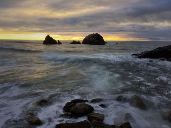 【The Pacific Sunset】 IPhoneography Flow Into Autumn Landscape Nature Sunset Sutro Bath Sea Wave Tide Dusk