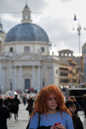 Piazza del Pololo Architecture Dome Building Exterior Built Structure Incidental People Women Travel Real People Focus On Foreground Portrait Travel Destinations City Religion People Tourism Redhead Place Of Worship Spirituality Adult Hairstyle Young Woman Girl Red Hair Cellphone Rome