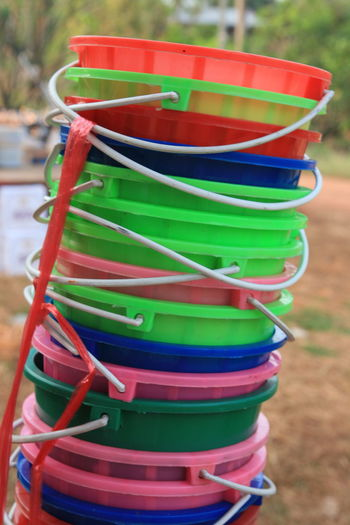 Stack No People Outdoors Close-up Day Freshness Bucket Colorful ถังน้ำ