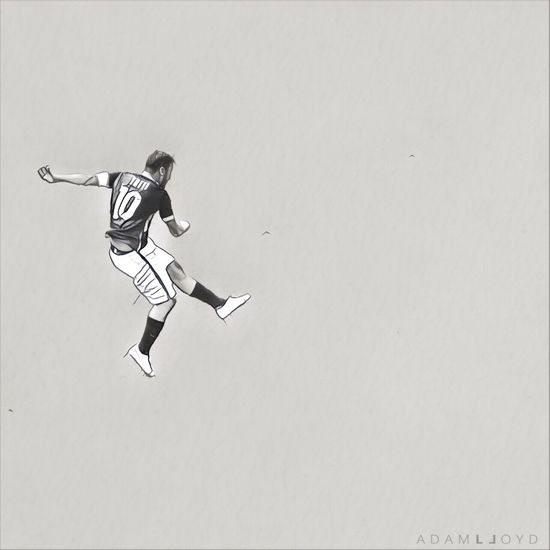 Totti Real People Full Length One Person Men Low Angle View Lifestyles Clear Sky Outdoors Day Football Digital Art As Roma Blackandwhite