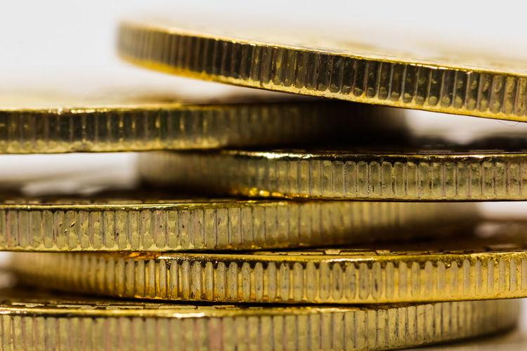 Close-up of bitcoins