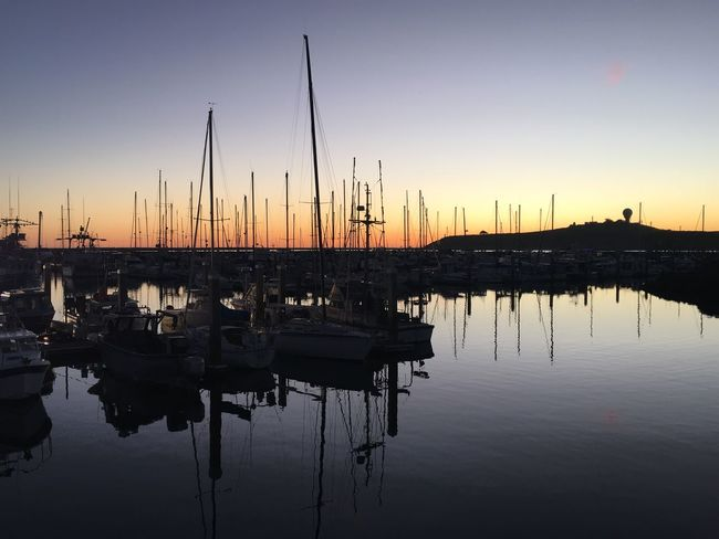 Hues EyeEm Best Shots - Nature EyeEm EyeEm Best Shots Coast California Reflection Nautical Vessel Sunset Mast Moored Water Clear Sky Tranquility Harbor Sailboat Silhouette Nature Beauty In Nature Scenics Outdoors