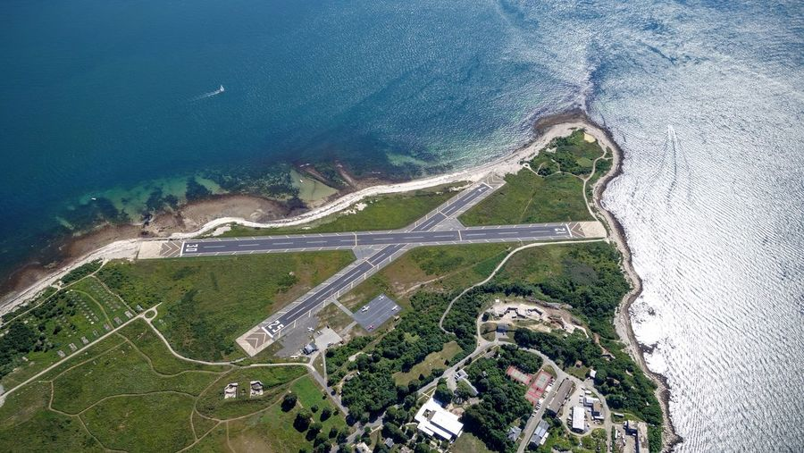 Aerial View Of Elizabeth Field At Fishers Island In Sea