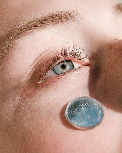 Emilie Randløv of Scoop Models Blue Eyes Mirror Face Faces Of EyeEm This Is My Skin Eyelash Eyesight Human Eye Portrait Futuristic Looking At Camera Iris - Eye Close-up Eyeball Iris Eye Eye Color