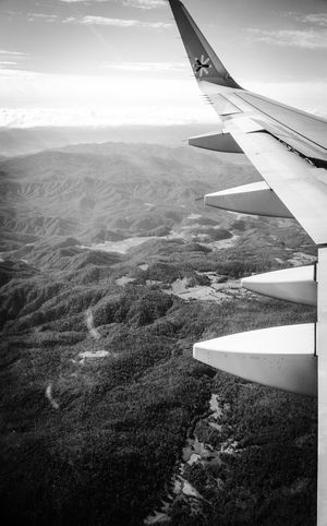 From An Airplane Window Sky Mountain View Monochrome Somewhere In The Sky