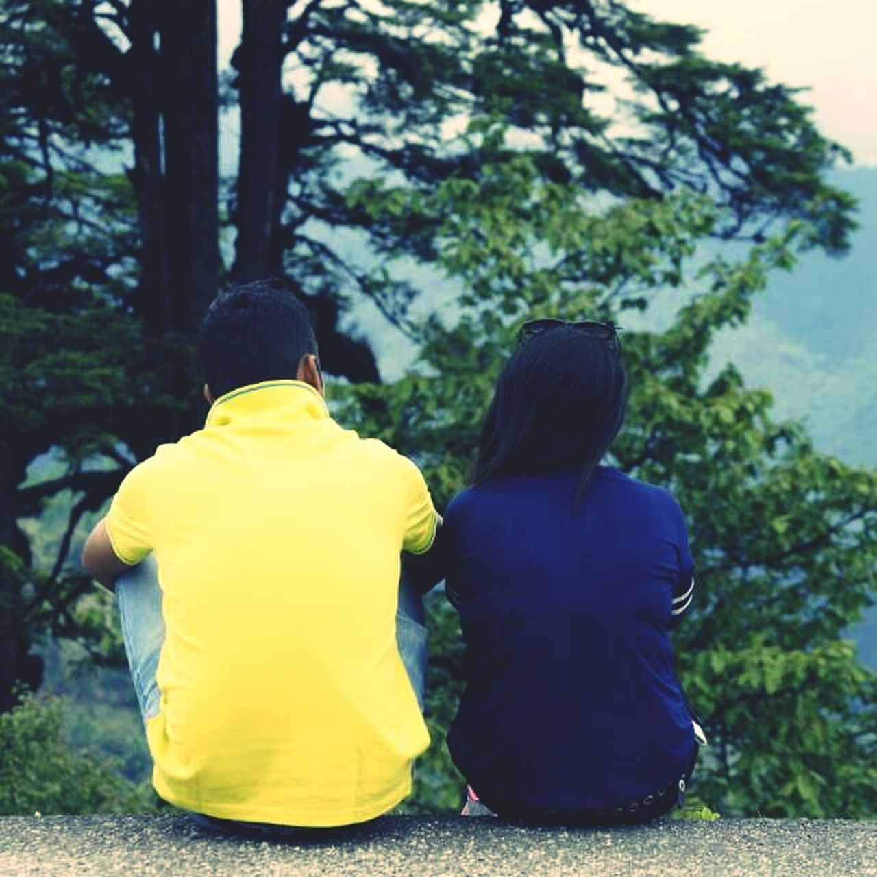 rear view, two people, yellow, real people, togetherness, tree, leisure activity, outdoors, casual clothing, childhood, women, lifestyles, day, sitting, nature, full length, bonding, friendship, adult, people
