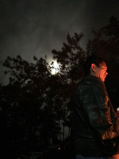 The moon and the man Outdoors Night Sky One Man Only