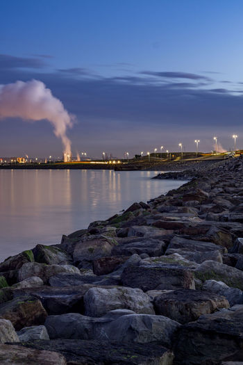Hartlepool Marina 14th October 2018 Hatlepool Teesside North East England North East England England, UK Europe Coast Coastal Feature Industry Industrial Sky Water Building Exterior Rock - Object Factory Environmental Issues Sea Nature Fumes Air Pollution Emitting Smoke - Physical Structure Cloud - Sky Rock