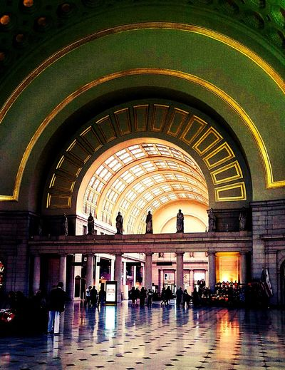 Random People Hustleandbustle DC Union Station Shiny, Marble Floors Green Arch With Gold Gilding Windows With Gold-gilded Panes Sunlight Pouring In Lover Of Architecture The Architect - 2017 EyeEm Awards The Photojournalist - 2017 EyeEm Awards EyeEmNewHere