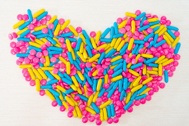 Multi Colored Large Group Of Objects Indoors  Heart Shape Still Life Love Abundance Food And Drink Directly Above Close-up Positive Emotion Candy Table Sweet Food Food No People Choice Studio Shot Variation Emotion Candy Heart Valentine's Day - Holiday Temptation