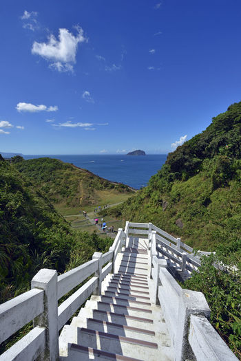Chinese Taipei Islands Keelungu Ladder Taiwan Beauty In Nature Blue Bridge Cloud - Sky Day Footbridge Keelung Landscape Mountain Mountain Range Nature No People Outdoors Railing Scenics Sky The Way Forward Tranquil Scene Tranquility Tree